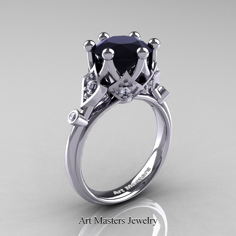 Modern Antique 14K White Gold 3 0 Carat Black and White Diamond Solitaire Wed