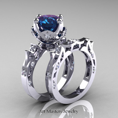 Modern-Antique-White-Gold-Alexandrite-Diamond-Solitaire-Wedding-Ring-Bridal-Set-R214S-WGDAL-P2