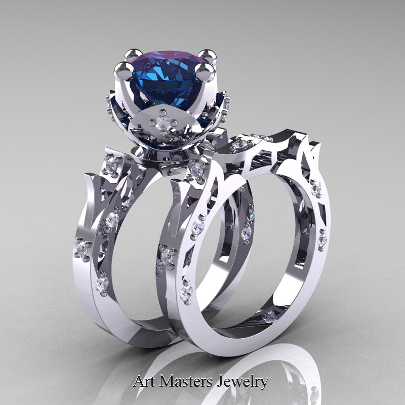 Modern Antique White Gold Alexandrite Diamond Solitaire Wedding