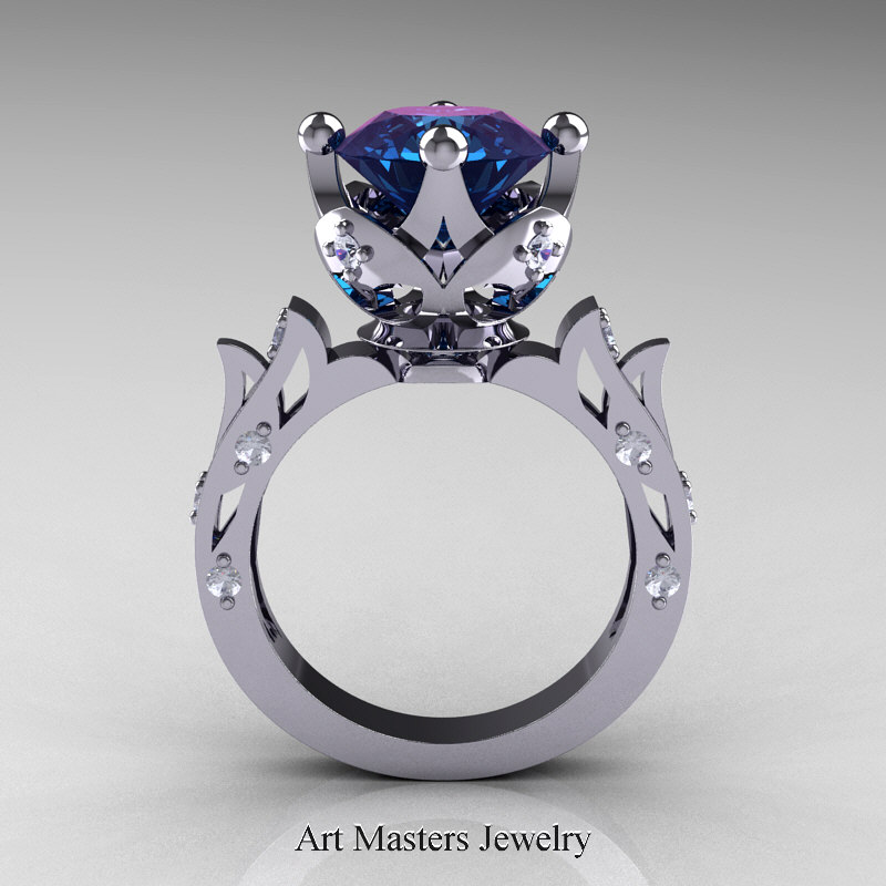 modern antique white gold alexandrite diamond solitaire wedding - Alexandrite Wedding Ring