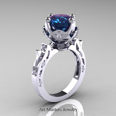 Modern-Antique-White-Gold-Alexandrite-Diamond-Solitaire-Wedding-Ring-R214-WGDAL-P2