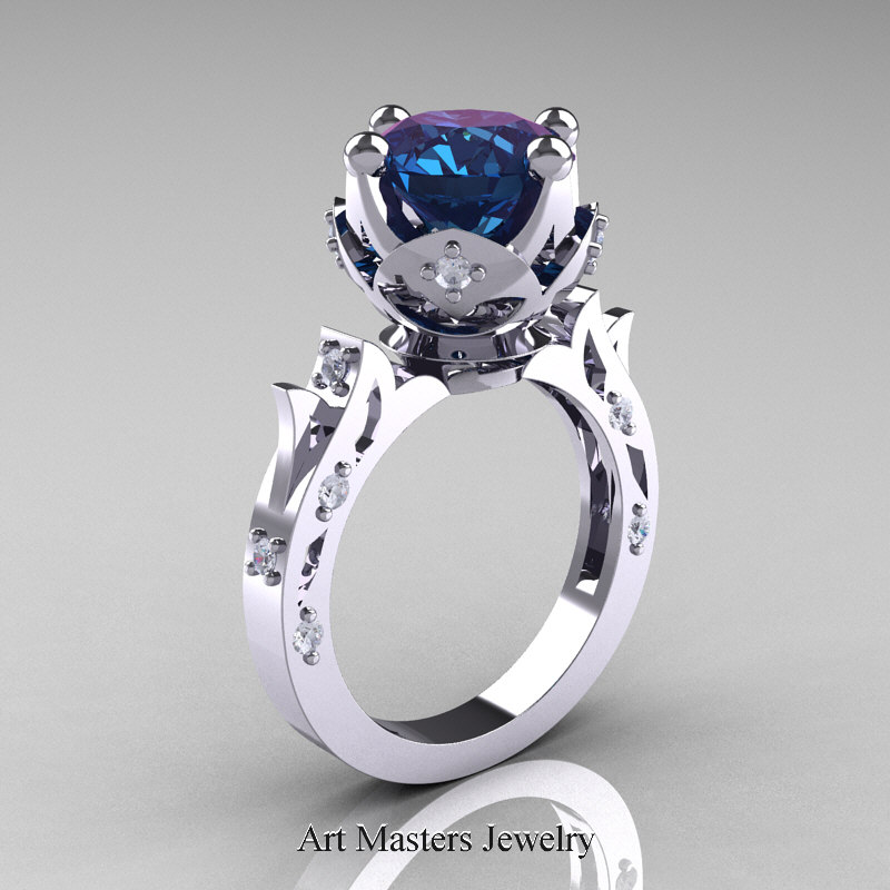 Modern Antique 14k White Gold 3 0 Carat Alexandrite