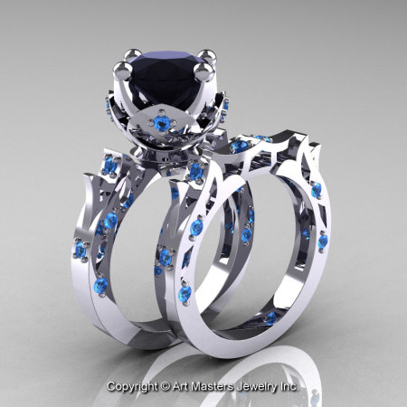 Modern-Antique-White-Gold-Black-Diamond-Blue-Topaz-Solitaire-Wedding-Ring-Bridal-Set-R214S-WGBTBD-P