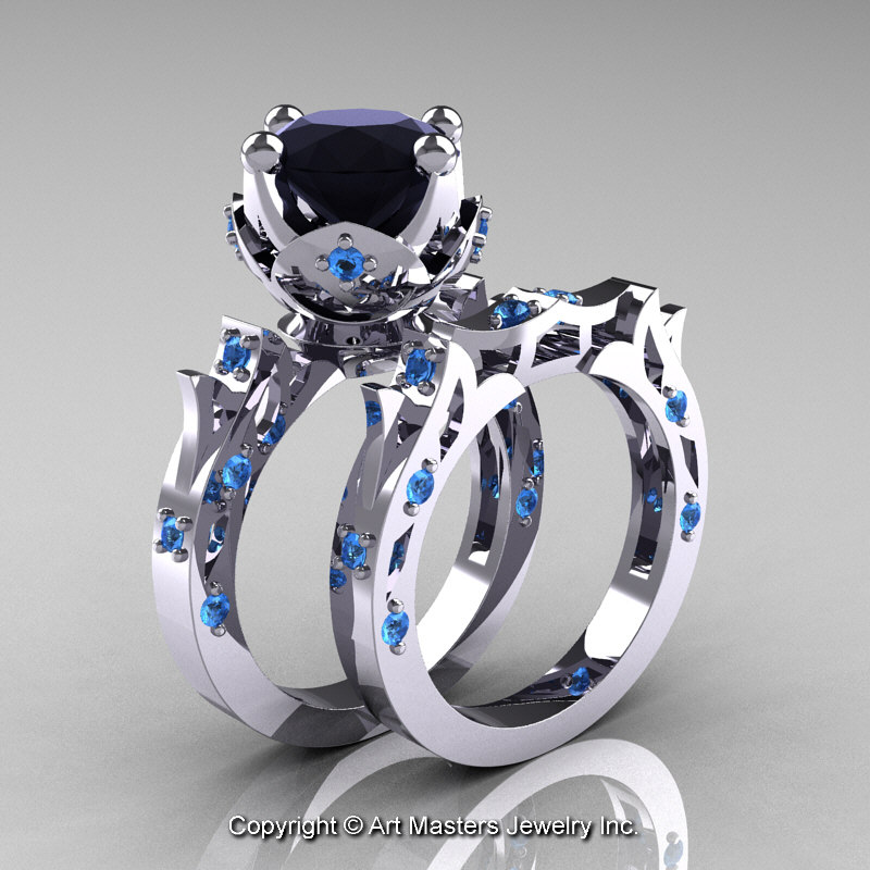 modern antique white gold black diamond blue topaz - Black Diamond Wedding Ring Set