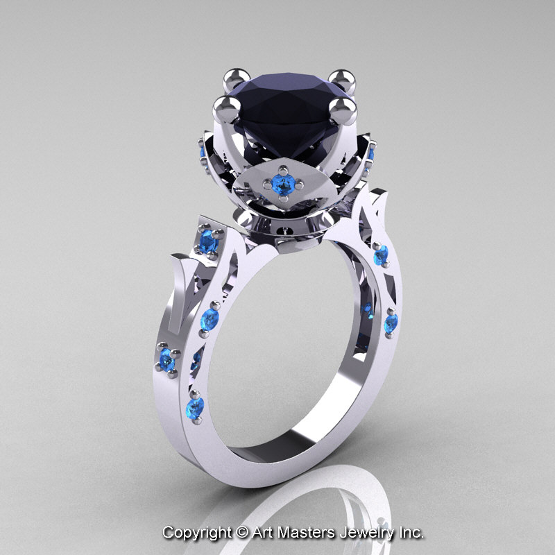 Modern Antique 14k White Gold 3 0 Carat Black Diamond Blue