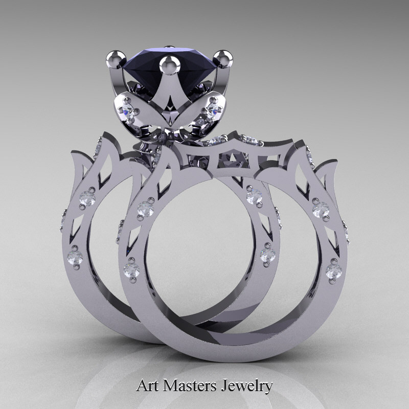 modern antique white gold black diamond solitaire wedding - Black Diamond Wedding Ring Set