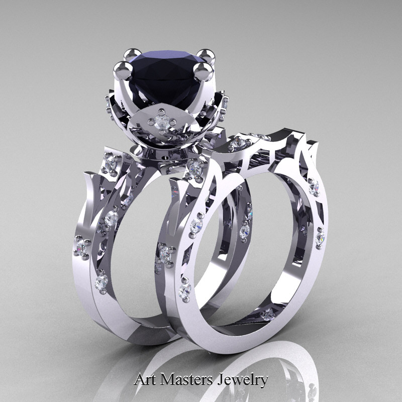 modern antique white gold black diamond solitaire wedding - Antique Wedding Ring Sets