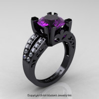 Modern Vintage 14K Black Gold 3.0 Carat Amethyst Diamond Solitaire Ring R102-14KBGDAM - Perspective