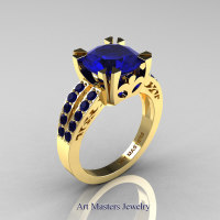 Modern Vintage 14K Yellow Gold 3.0 Carat Blue Sapphire Solitaire Ring R102-14KYGBS - Perspective