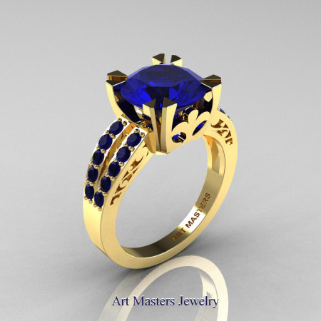Modern-Vintage-14K-Yellow-Gold-Blue-Sapphire-Solitaire-Ring-R102-14KYGBS-P2