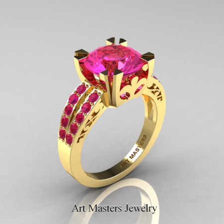 Modern-Vintage-14K-Yellow-Gold-Pink-Sapphire-Solitaire-Ring-R102-14KYGPS-P2