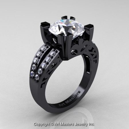 Modern-Vintage-Black-Gold-White-Sapphire-Diamond-Solitaire-Ring-R102-BGDWS-P