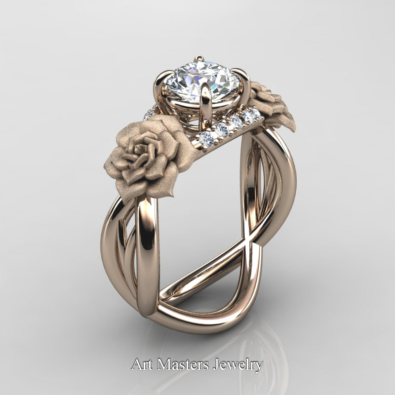 Nature Inspired 14K Rose Gold 10 Ct White Sapphire Diamond Rose