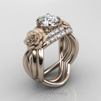 Nature Inspired 14K Rose Gold 1.0 Ct White Sapphire Diamond Rose Vine Engagement Ring Wedding Band Set R294S-14KRGDWS - Perspective