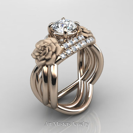 Nature-Inspired-14K-Rose-Gold-1-Ct-White-Sapphire-Diamond-Rose-Vine-Engagement-Ring-Wedding-Band-Set-R294S-14KRGDWS-P