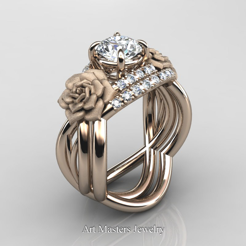 Rose Gold Wedding Band Sets | Nature Inspired 14k Rose Gold 1 0 Ct White Sapphire Diamond Rose