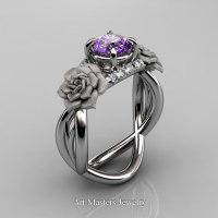 Nature Inspired 14K White Gold 1.0 Ct Amethyst Diamond Rose Vine Engagement Ring R294-14KWGDAM - Perspective