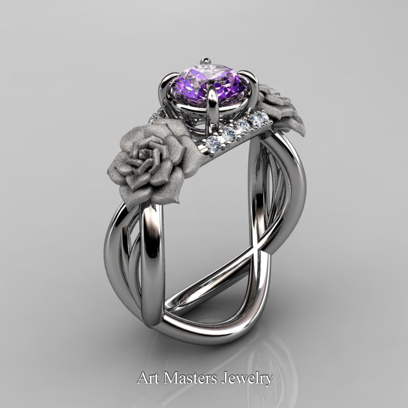 White Gold Diamond And Amethyst Engagement Rings