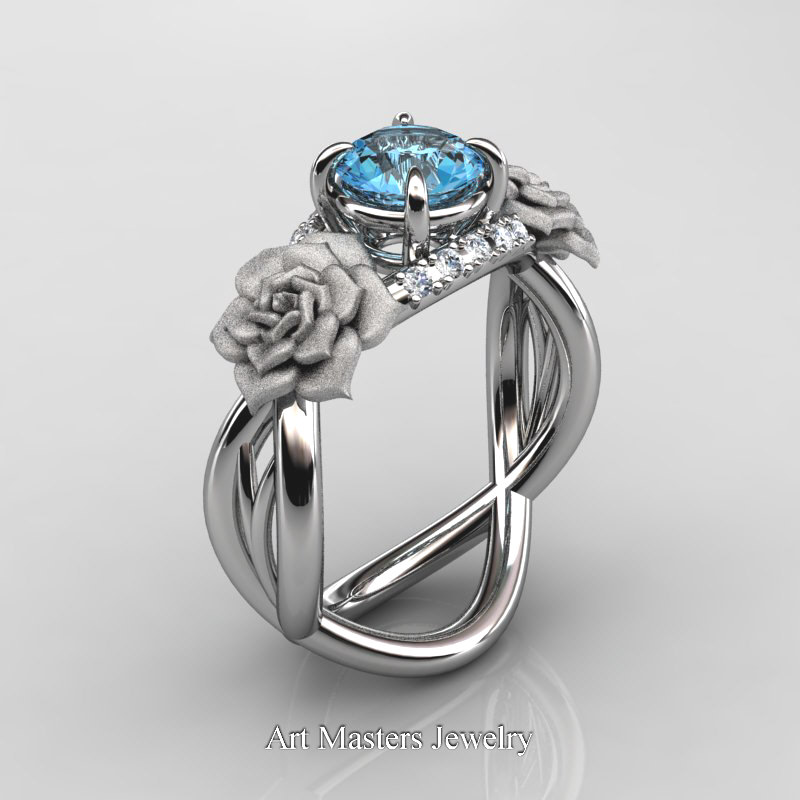 wedding ring blue topaz and diamonds
