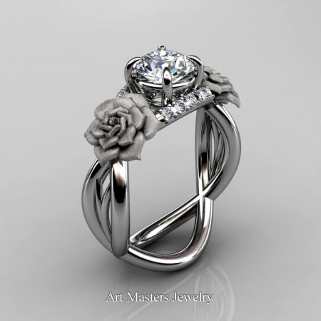 Nature-Inspired-14K-White-Gold-1-Ct-White-Sapphire-Diamond-Rose-Vine-Engagement-Ring-R294-14KWGDWS-P