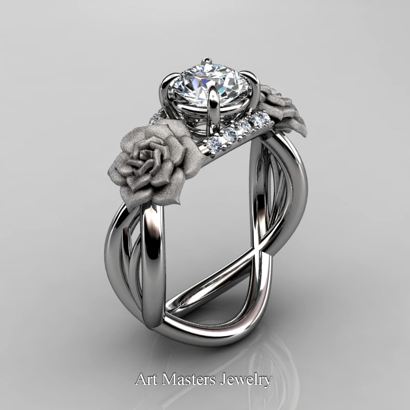 Delicieux Nature Inspired 14K White Gold 1 Ct White