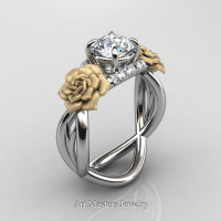 Nature Inspired 14K White Gold 1.0 Ct White Sapphire Diamond Rose Vine Engagement Ring R294-14KWYGDWS - Perspective