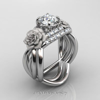 Nature Inspired 14K White Gold 1.0 Ct White Sapphire Diamond Rose Vine Engagement Ring Wedding Band Set R294S-14KWGDWS - Perspective