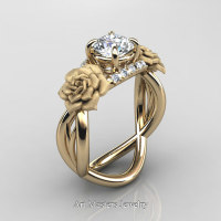 Nature Inspired 14K Yellow Gold 1.0 Ct White Sapphire Diamond Rose Vine Engagement Ring R294-14KYGDWS - Perspective
