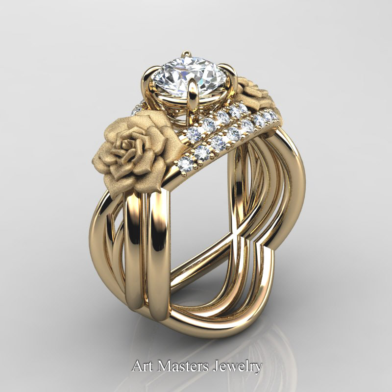 Nature Inspired 14K Yellow Gold 1 Ct White