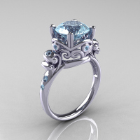 Modern Vintage 14K White Gold 2.5 Carat Aquamarine Wedding Engagement Ring R167-14KWGAQ - Perspective