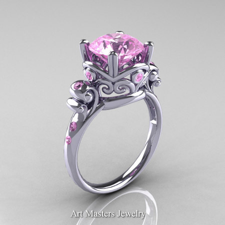 Art-Masters-Vintage-14K-White-Gold-3-Ct-Light-Pink-Sapphire-Solitaire-Ring-Wedding-Ring-R167-14KWGLPS-P