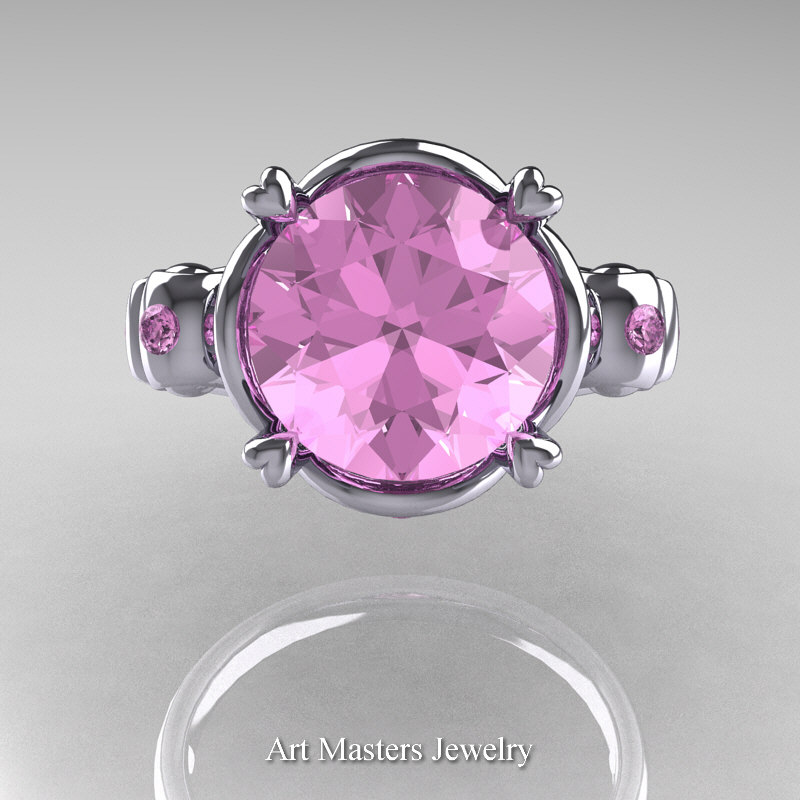 Modern Vintage 14K White Gold 2 5 Carat Light Pink Sapphire Wedding Engagemen