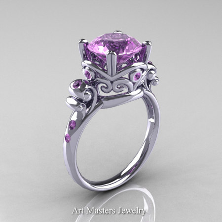 Art-Masters-Vintage-14K-White-Gold-3-Ct-Lilac-Amethyst-Solitaire-Ring-Wedding-Ring-R167-14KWGAM-P