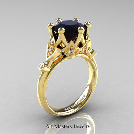 Modern-Antique-14K-Yellow-Gold-3-Carat-Black-and-White-Diamond-Solitaire-Wedding-Ring-R514-14KYGDBD-P