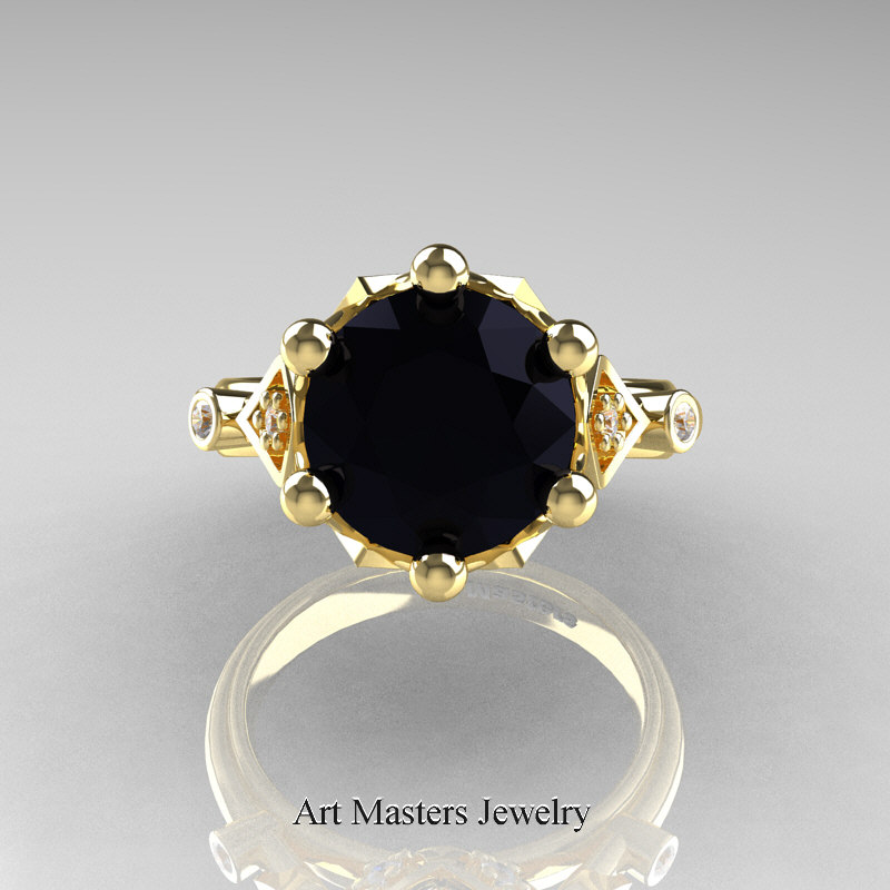 Modern Antique 14k Yellow Gold 3 0 Carat Black And White