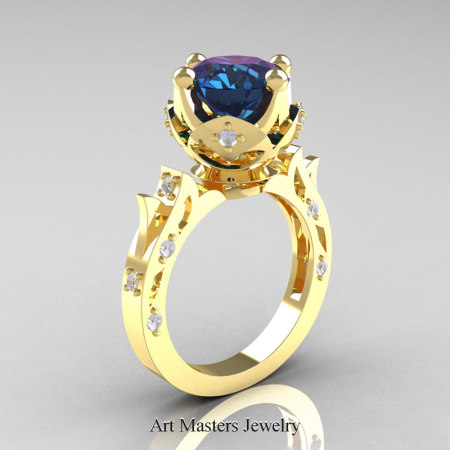 Modern-Antique-Yellow-Gold-Alexandrite-Diamond-Solitaire-Wedding-Ring-R214-YGDAL-P