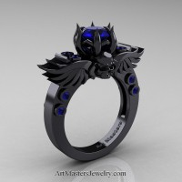 Art Masters Classic Winged Skull 14K Black Gold 1.0 Ct Blue Sapphire Solitaire Engagement Ring R613-14KBGBS