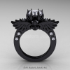 Art-Masters-Winged-Skull-14K-Black-Gold-1-Carat-White-Sapphire-Diamond-Engagement-Ring-R613-14KBGDWS-F