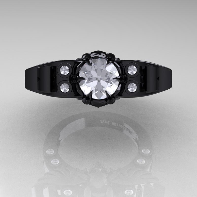 Art Masters Classic Winged Skull 14K Black Gold 1 0 Ct White Sapphire Diamond