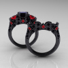 Classic-14K-Black-Gold-Three-Stone-Princess-Black-Diamond-Ruby-Solitaire-Ring-Wedding-Band-Set-R500S2-14KBGBDR-F