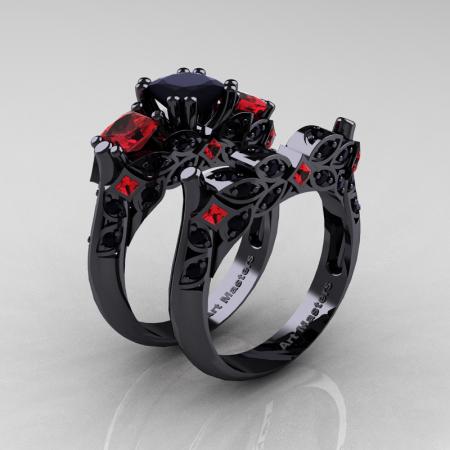 Classic-14K-Black-Gold-Three-Stone-Princess-Black-Diamond-Ruby-Solitaire-Ring-Wedding-Band-Set-R500S2-14KBGBDR-P