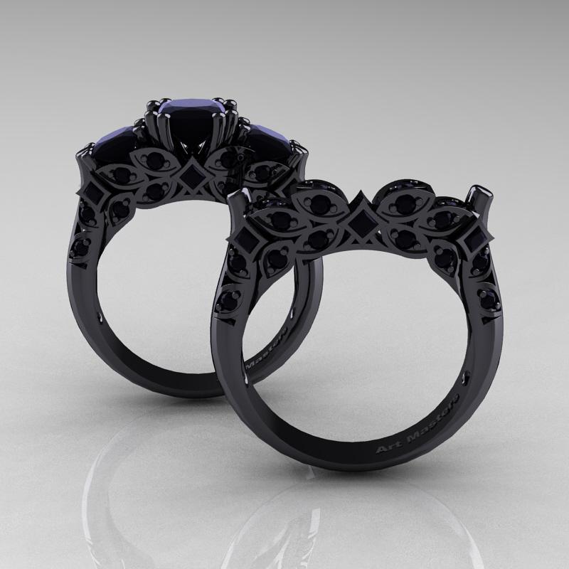 Designer Classic 14k Black Gold Three Stone Princess Black Diamond Engagement Ring Wedding Band Set R500s 14kbgbd Art Masters Jewelry