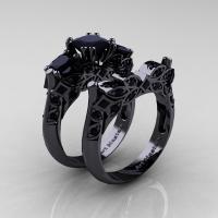 Designer Classic 14K Black Gold Three Stone Princess Black Diamond Engagement Ring Wedding Band Set R500S-14KBGBD - Perspective