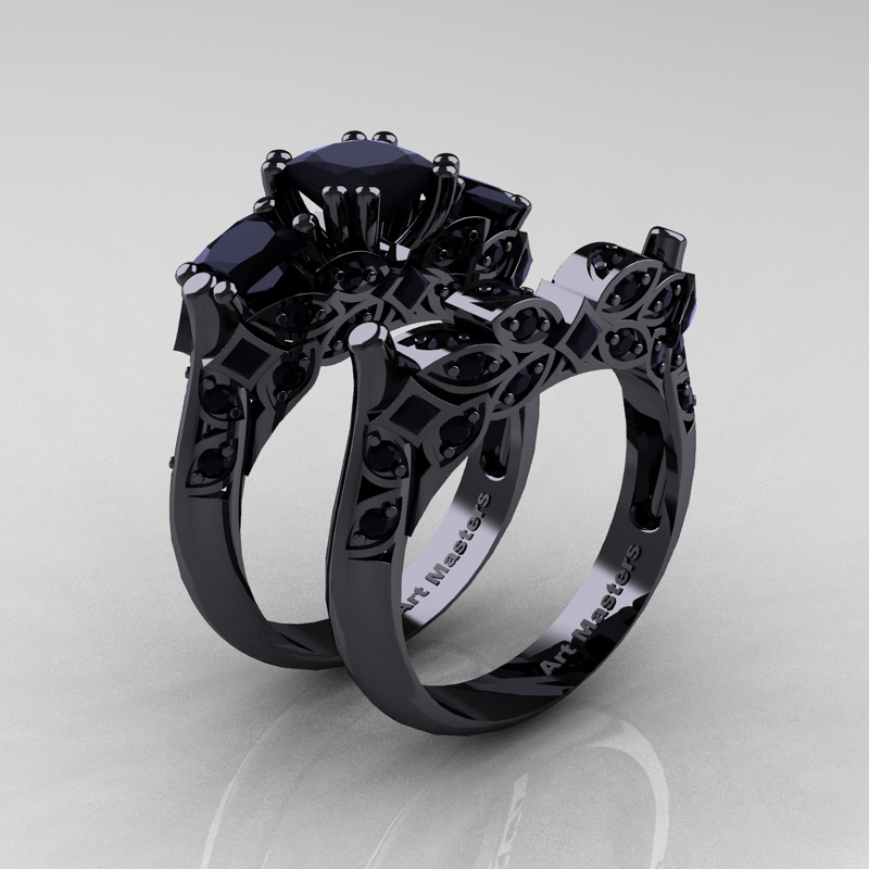Classic 14K Black Gold Three Stone Princess