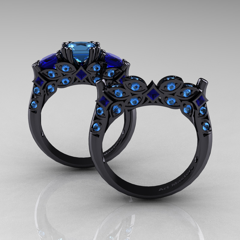 Designer Classic 14k Black Gold Three Stone Princess Blue Topaz Blue Sapphire