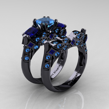 Classic-14K-Black-Gold-Three-Stone-Princess-Blue-Topaz-Blue-Sapphire-Solitaire-Ring-Wedding-Band-Set-R500S2-14KBGBTBS-P