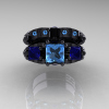 Classic-14K-Black-Gold-Three-Stone-Princess-Blue-Topaz-Blue-Sapphire-Solitaire-Ring-Wedding-Band-Set-R500S2-14KBGBTBS-T
