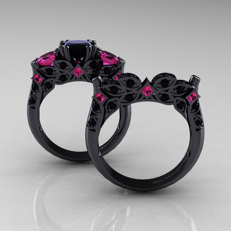 classic 14k black gold three stone princess pink - Black Diamond Wedding Ring Set