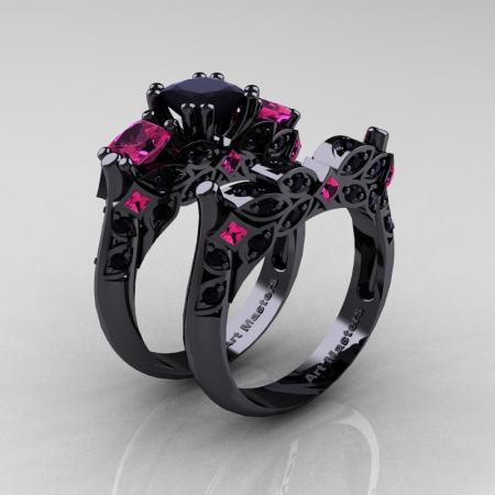 Classic-14K-Black-Gold-Three-Stone-Princess-Pink-Sapphire-Black-Diamond-Solitaire-Ring-Wedding-Band-Set-R500S2-BGBDPS-P