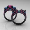 Classic-14K-Black-Gold-Three-Stone-Princess-Pink-Sapphire-Blue-Topaz-Diamond-Ring-Wedding-Band-Set-R500S-BGBTPS-F